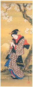 thumbnail Keisai Eisen – Beautiful woman with a Japanese bladder cherry in her hands [from The Exhibition of Keisai Eisen in memory of the 150th anniversary after his death]
