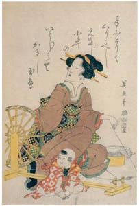 渓斎英泉 – 糸つむぎ (渓斎英泉展 没後150年記念より)のサムネイル画像