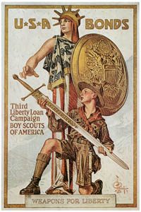 "thumbnail J. C. Leyendecker – ""Weapons for Liberty."" War Bond Poster 1917 [from The J. C. Leyendecker Poster Book]"