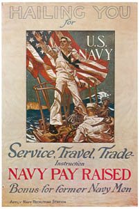 thumbnail J. C. Leyendecker – U S Navy Recruitment Poster, 1918. [from The J. C. Leyendecker Poster Book]