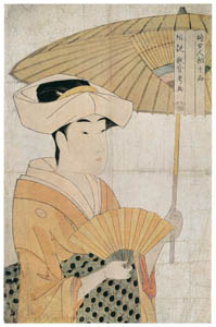 喜多川歌麿 – 婦女人相十品 扇子を持ち日傘をさす女 (浮世絵聚花 ボストン美術館3 歌麿より)のサムネイル画像
