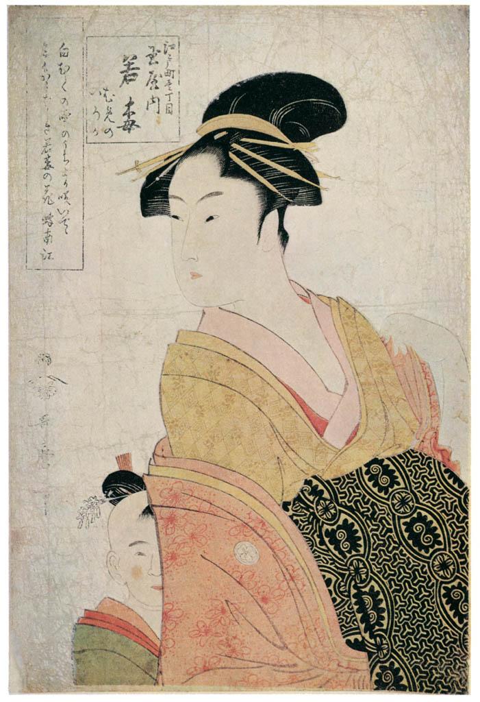 Kitagawa Utamaro – Wakaume of the Tamaya in Edo-machi itchôme, kamuro Mumeno and Iroka [from Ukiyo-e shuka. Museum of Fine Arts, Boston III]