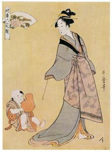 喜多川歌麿 – 地者六花撰・煙管を持つ女とだるまを持つ童子 (浮世絵聚花 ボストン美術館3 歌麿より)のサムネイル画像