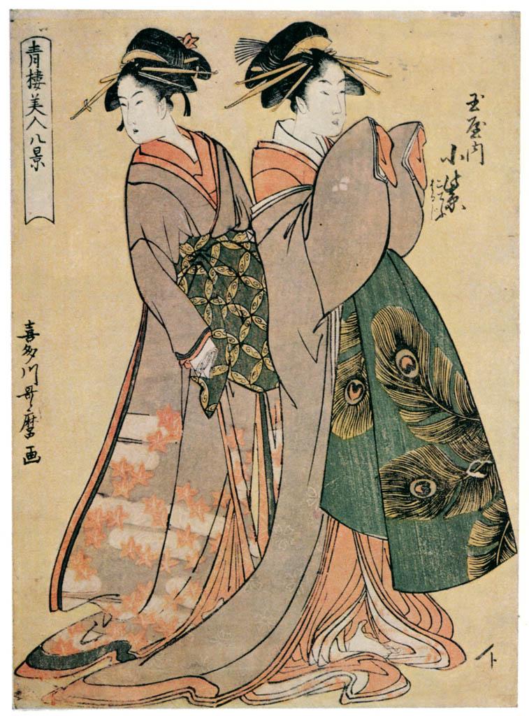 Kitagawa Utamaro – Komurasaki of the Tamaya, kamuro Kochô and Haruji, from the series Eight Views of Beauties of the Pleasure Quarters [from Ukiyo-e shuka. Museum of Fine Arts, Boston III]