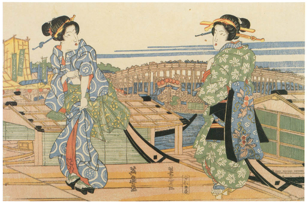 Keisai Eisen – Two girls on die pier [from The Exhibition of Keisai Eisen in memory of the 150th anniversary after his death]