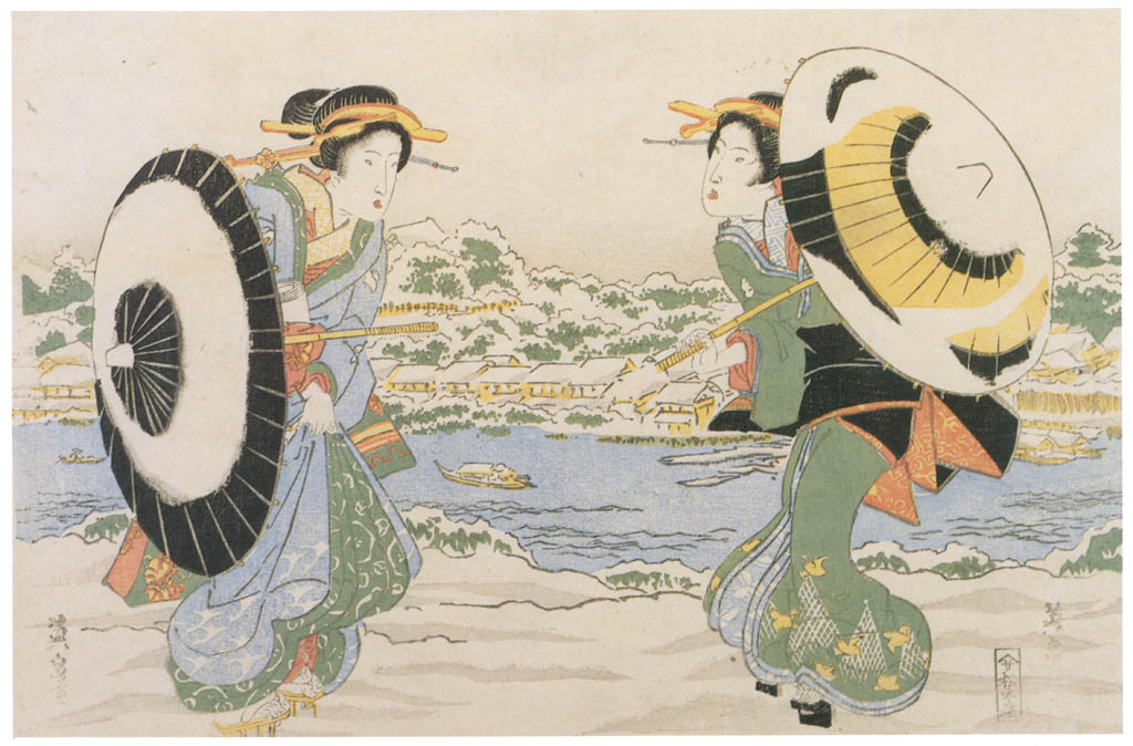 Keisai Eisen – Two girls in snow on die bank of Sumida-gawa River [from The Exhibition of Keisai Eisen in memory of the 150th anniversary after his death]