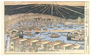 thumbnail Keisai Eisen – Cooling off at the Ryôgoku-bashi Bridge [from The Exhibition of Keisai Eisen in memory of the 150th anniversary after his death]