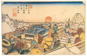thumbnail Keisai Eisen – Sequel to Kiso Kaidô Series, 1 : Dawn in snow at Nihombashi [from The Exhibition of Keisai Eisen in memory of the 150th anniversary after his death]