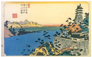 thumbnail Keisai Eisen – Kiso Kaidô Highway : Distant view of Unuma Station from Inuyama [from The Exhibition of Keisai Eisen in memory of the 150th anniversary after his death]