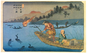 thumbnail Keisai Eisen – Stations of Kiso Road : Gôto-Boats of cormorant fishing in the Nagara-gawa River [from The Exhibition of Keisai Eisen in memory of the 150th anniversary after his death]