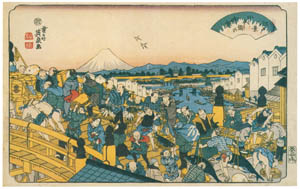 thumbnail Keisai Eisen – Edo Hakkei (Eight Sights of Edo) : Clear weather at Nihombashi [from The Exhibition of Keisai Eisen in memory of the 150th anniversary after his death]