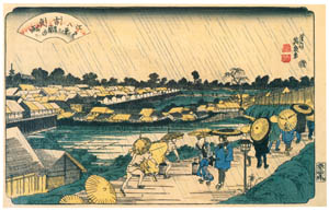 thumbnail Keisai Eisen – Edo Hakkei (Eight Sights of Edo) : Night rain at Yoshiwara [from The Exhibition of Keisai Eisen in memory of the 150th anniversary after his death]