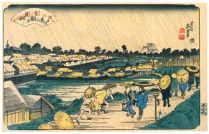 thumbnail Keisai Eisen – Edo Hakkei (Eight Sights of Edo) : Night rain at Yoshiwara [from The Exhibition of Keisai Eisen in memory of the 150th anniversary after his death]