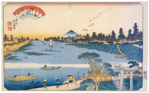 thumbnail Keisai Eisen – Edo Hakkei (Eight Sights of Edo) : Wildgeese flying down at Sumida-gawa River [from The Exhibition of Keisai Eisen in memory of the 150th anniversary after his death]