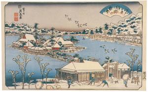 thumbnail Keisai Eisen – Edo Hakkei (Eight Sights of Edo) : Evening snow at Shinobugaoka [from The Exhibition of Keisai Eisen in memory of the 150th anniversary after his death]