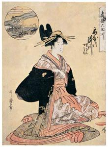 thumbnail Kitagawa Utamaro – The Jewel River of Plovers: Takigawa of the Ôgiya, kamuro Onami and Menami, from the series Six Jewel Rivers in the Pleasure Quarters [from Ukiyo-e shuka. Museum of Fine Arts, Boston III]