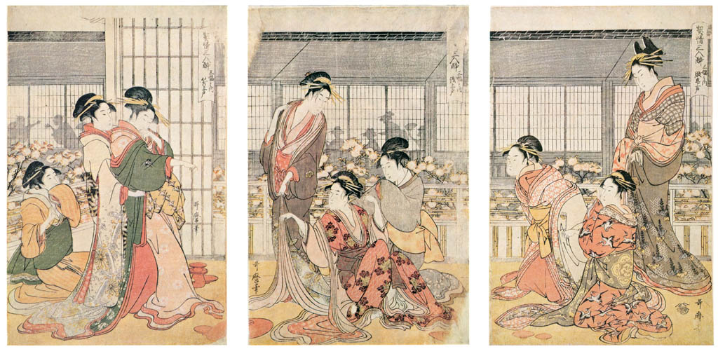 Kitagawa Utamaro – Three Drunken Courtesans, a Triptych: the Angry Drunk, the Weepy Drunk, the Giggly Drunk [from Ukiyo-e shuka. Museum of Fine Arts, Boston III]