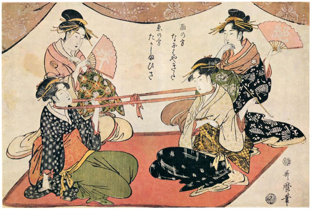 Kitagawa Utamaro – Two Beauties Playing Neck Tug-of-war: For the West, Okita of the Naniwaya, and for the East, Ohisa of the Takashimaya [from Ukiyo-e shuka. Museum of Fine Arts, Boston III]