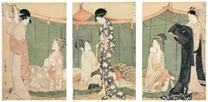 thumbnail Kitagawa Utamaro – Women Overnight Guests, a Triptych [from Ukiyo-e shuka. Museum of Fine Arts, Boston III]