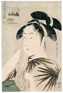thumbnail Kitagawa Utamaro – The Widow of Asahiya, from the series Renowned Beauties Likened to the Six Immortal Poets [from Ukiyo-e shuka. Museum of Fine Arts, Boston III]