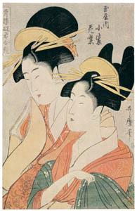 thumbnail Kitagawa Utamaro – Komurasaki and Hanamurasaki of the Tamaya, from the series Courtesans of the Pleasure Quarters in Double Mirrors [from Ukiyo-e shuka. Museum of Fine Arts, Boston III]