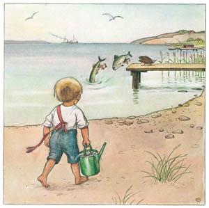 エルサ・ベスコフ – 挿絵10 (しりたがりやのちいさな魚のお話より)のサムネイル画像