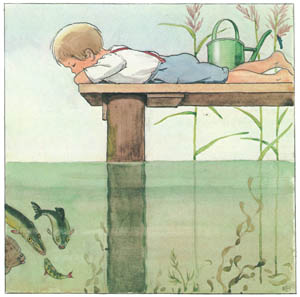 エルサ・ベスコフ – 挿絵11 (しりたがりやのちいさな魚のお話より)のサムネイル画像