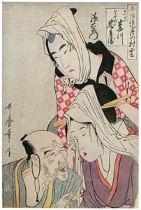 thumbnail Kitagawa Utamaro – The Courtesan Umegawa, Chûbei of the Courier Firm, and Magoemon, from the series Models of Love Talk: Clouds Form over the Moon [from Ukiyo-e shuka. Museum of Fine Arts, Boston III]