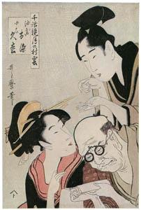 thumbnail Kitagawa Utamaro – Aburaya Osome and Kogai Hisamatsu, from the series Models of Love Talk: Clouds Form over the Moon [from Ukiyo-e shuka. Museum of Fine Arts, Boston III]