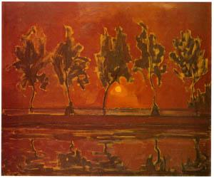 ピート・モンドリアン – 月の出ヘイン河畔の木々 (ピート・モンドリアン 1872-1944 虚空の楼閣より)のサムネイル画像