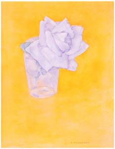 ピート・モンドリアン – グラスに挿した白バラ (ピート・モンドリアン 1872-1944 虚空の楼閣より)のサムネイル画像