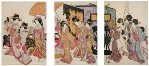 喜多川歌麿 – 御所車見立て行列 (浮世絵聚花 ボストン美術館3 歌麿より)のサムネイル画像