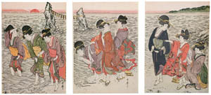 thumbnail Kitagawa Utamaro – Women on the Beach at Futami-ga-ura [from Ukiyo-e shuka. Museum of Fine Arts, Boston III]