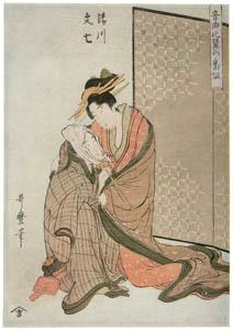 thumbnail Kitagawa Utamaro – Kiyokawa and Bunshichi, from the series Musical Program of True Love [from Ukiyo-e shuka. Museum of Fine Arts, Boston III]