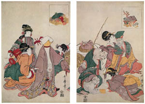 thumbnail Kitagawa Utamaro – The Seven Gods of Good Fortune Playing Party Games [from Ukiyo-e shuka. Museum of Fine Arts, Boston III]