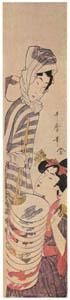 thumbnail Kitagawa Utamaro – Young Woman and Fan Peddler [from Ukiyo-e shuka. Museum of Fine Arts, Boston III]