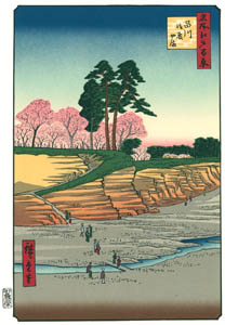 thumbnail Utagawa Hiroshige – Palace Hill in Shinagawa [from One Hundred Famous Views of Edo (kurashi-no-techo Edition)]