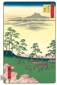 thumbnail Utagawa Hiroshige – View to the North from Asukayama [from One Hundred Famous Views of Edo (kurashi-no-techo Edition)]
