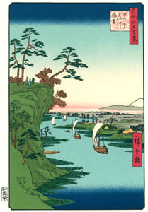 thumbnail Utagawa Hiroshige – View of Kōnodai and the Tone River [from One Hundred Famous Views of Edo (kurashi-no-techo Edition)]