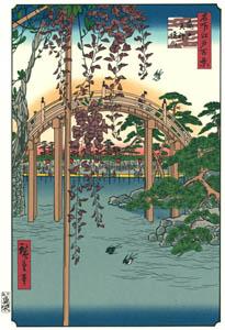 thumbnail Utagawa Hiroshige – Inside Kameido Tenjin Shrine [from One Hundred Famous Views of Edo (kurashi-no-techo Edition)]