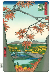 thumbnail Utagawa Hiroshige – The Maple Trees at Mama, the Tekona Shrine and Tsugihashi Bridge  [from One Hundred Famous Views of Edo (kurashi-no-techo Edition)]