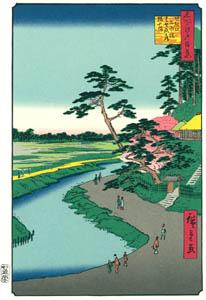 thumbnail Utagawa Hiroshige – Bashō's Hermitage on Camellia Hill beside the Aqueduct at Sekiguchi [from One Hundred Famous Views of Edo (kurashi-no-techo Edition)]