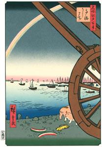 thumbnail Utagawa Hiroshige – Ushimachi in Takanawa [from One Hundred Famous Views of Edo (kurashi-no-techo Edition)]