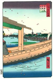 thumbnail Utagawa Hiroshige – Distant View of Kinryūzan Temple and the Azuma Bridge [from One Hundred Famous Views of Edo (kurashi-no-techo Edition)]