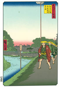 歌川広重 – 紀の国坂 赤坂溜池遠景 (廣重名所江戸百景 新印刷によるより)のサムネイル画像