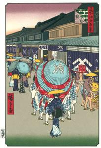 歌川広重 – 日本橋通一丁目略図 (廣重名所江戸百景 新印刷によるより)のサムネイル画像