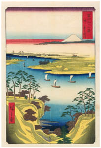 thumbnail Utagawa Hiroshige – Wild Goose Hill and the Tone River [from Thirty-six Views of Mount Fuji]