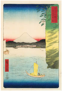 thumbnail Utagawa Hiroshige – Cherry Blossoms at Honmoku in Musashi Province [from Thirty-six Views of Mount Fuji]