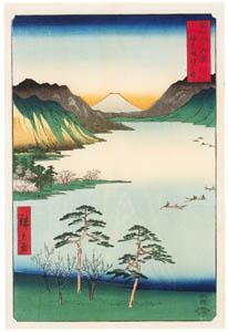 thumbnail Utagawa Hiroshige – Lake Suwa in Shinano Province [from Thirty-six Views of Mount Fuji]