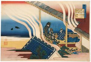 葛飾北斎 – 百人一首うはかゑと起 藤原義孝 (名品揃物浮世絵9 北斎IIより)のサムネイル画像